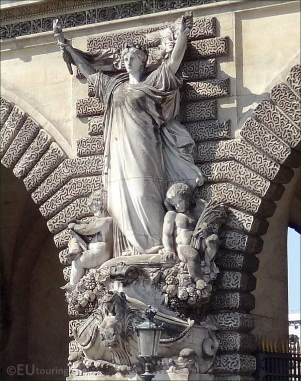 Statues Archways Louvre Museum In Paris