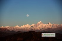 Nearly a full moonrise above Himalayas