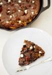 Salted caramel triple chocolate skillet cookie