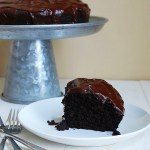 Double chocolate bundt cake with chocolate ganache
