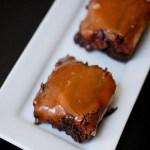 Brownies with salted caramel sauce