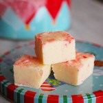 White chocolate candy cane and peppermint fudge