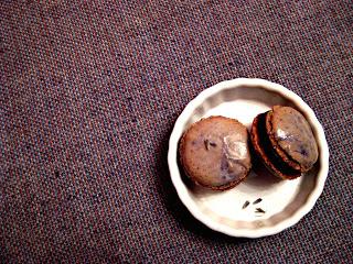 Lavender macarons with chocolate honey ganache