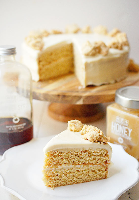 maple cake with honey cream cheese frosting