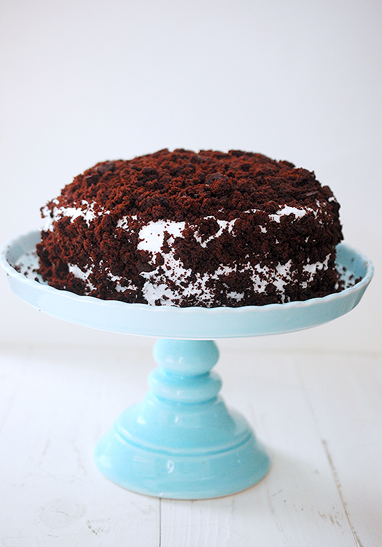 Devil's food white-out cake