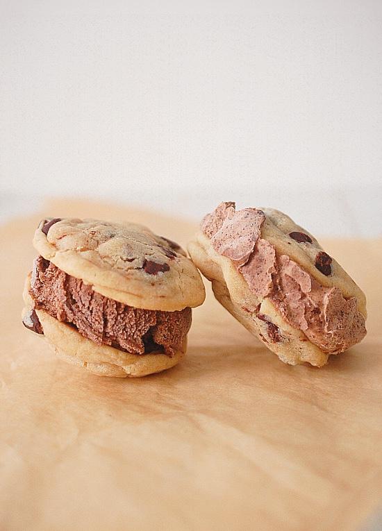 Chocolate chip ice cream cookie sandwiches