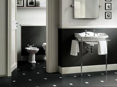 Bagni in bianco nero piastrelle bianche e nere per un