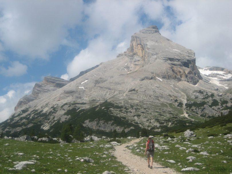 Hiking through Fanes - Sennes - Braies National Park.