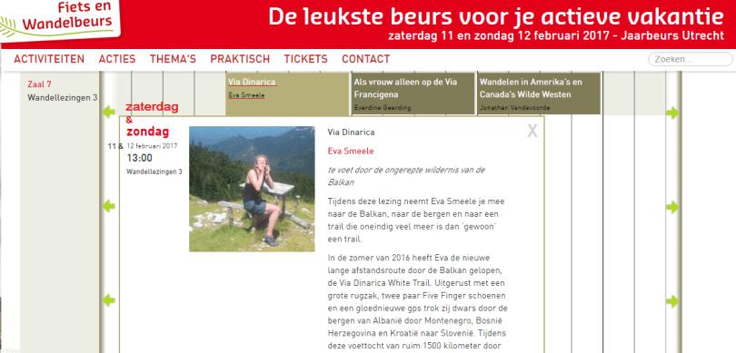 Eva Smeele op de fiets en wandelbeurs zaterag&zondag 2017