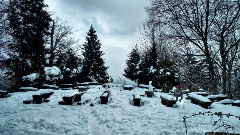Planinarski Dom Runolist   Snowy terrace