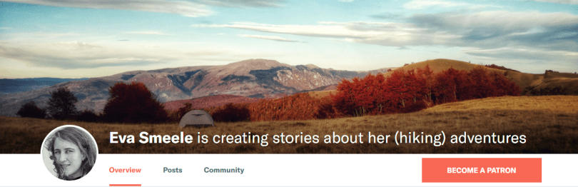 Patreon | Eva Smeele is creating stories about her hiking adventures