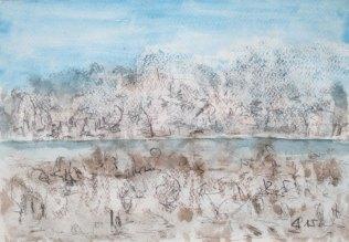 Greifensee im Winter, 2015, mit Passepartout und Rahmen, 40 x 50 cm