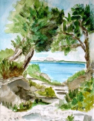 Durchblick bei Cap Antibes, 2005 Aquarell, mit Passepartout und Rahmen 40 x 50 cm