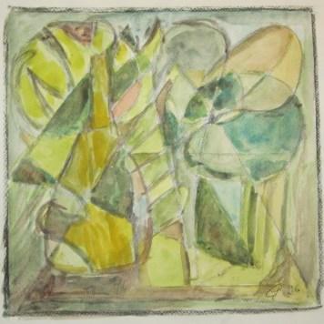 Abstrakte Farbfantasie in grün, 1996, mit Passepartout und Rahmen, 40 x 50 cm