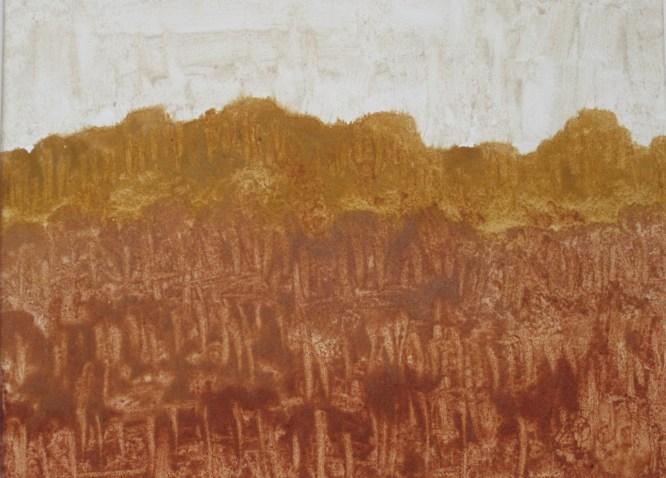 Fantasie in Ocker, 2010, mit Passepartout und Rahmen, 40 x 50cm