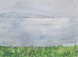 Zürichsee nach einem Regentag, Aquarell, 1995 mit Passepartout und Rahmen 30 x 40 cm