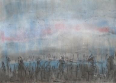 Winterstimmung im 2014 Weichpastellkreide, mit Passepartout und Rahmen, 40 x 50 cm