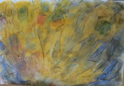 Abstrakte Blume in gelb, 2000, mit Passepartout und Rahmen, 40 x 50 cm