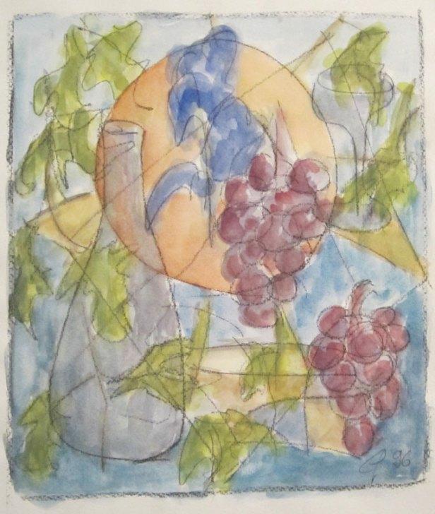 Abstrakte Farbfantasie in blau-violet, 1996, mit Passepartout und Rahmen, 40 x 50 cm