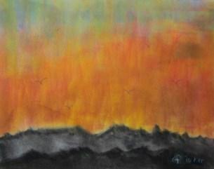 inspiriert vom roten Himmel , 12.2015, Weichpastellkreide, mit Passepartout und Rahmen 50 x 70 cm