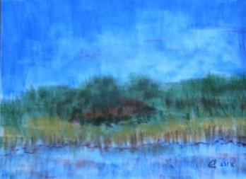 Moorsee, 07.2016, Weichpastellkreide, mit Passeparout und Rahmen 40 x 50 cm