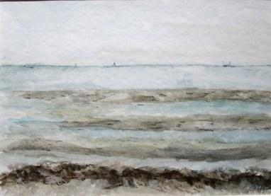 Sandstrand in Grado, 1999 Aquarell mit Passeparout und Rahmen 40 x 50 cm
