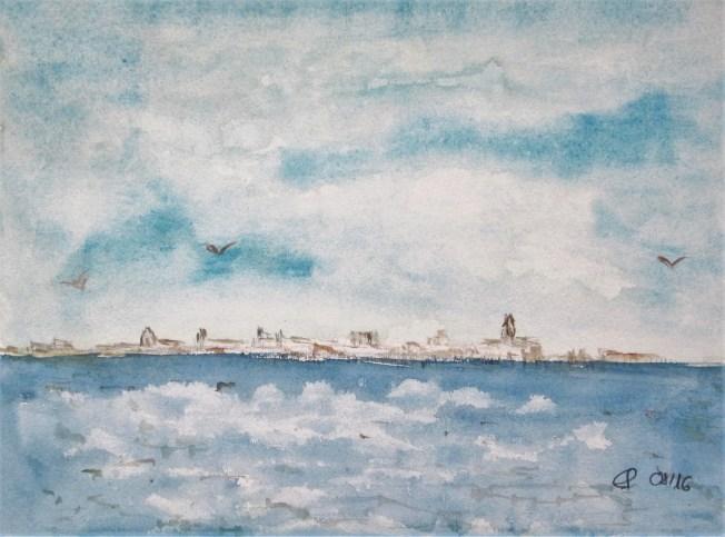 Sicht auf Strahlsund am Vormittag, 2016 Aquarell mit Passeparout und Rahmen 40 x 50 cm
