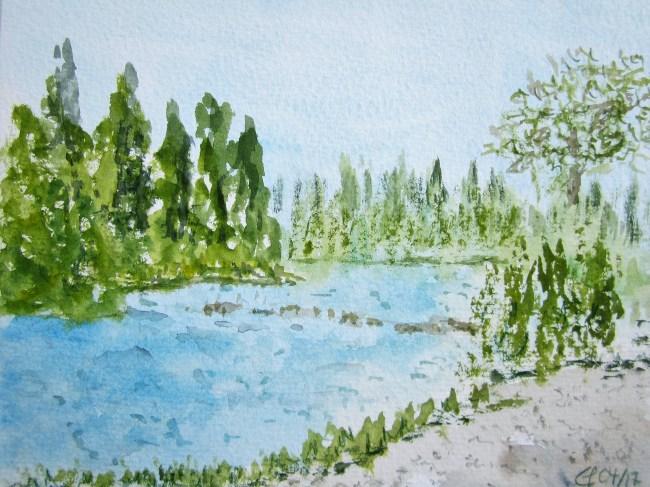 Am Radwegs des Mincio, Aquarell, 2017 mit Passepartout und Rahmen, 30 x 40 cm