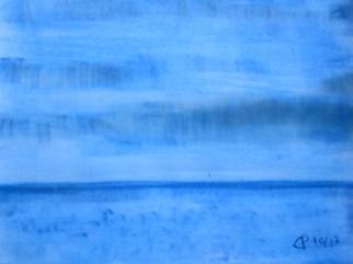 Farbsymphonie in Blau, 2017 Weichpastellkreide mit Passepartout und Rahmen 40 x 50 cm