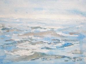 bewegtes Meer,10. 2017 Aquarell mit Passeparout und Rahmen 40 x 50 cm