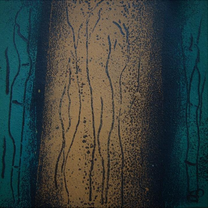 Teer mit Acryl, Bambus, 2018 auf Karton, 15 x 15 cm