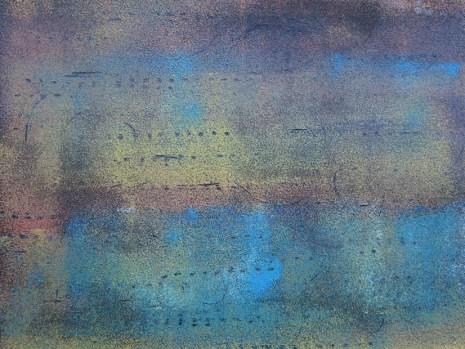 Teer mit Acryl in blau ocker und rot, 2018 auf Karton 30 x 40 cm, mit Rahmen 40 x 50 cm
