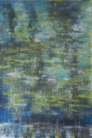 Wald im Frühlingskeid, 2018 Teer mit Acryl auf Karton, 31 x 46 cm