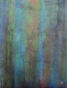 Teer mit Acryl auf Karton, 04.2018 mit Rahmen 40 x 50 cm