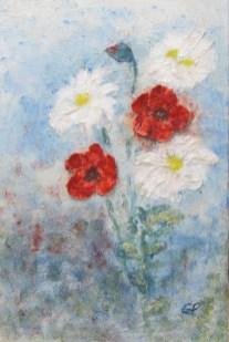 Sommerblumen, 2018 Powertex und Stoneart mit Farbpigemnten Leinwand 60 x 40 cm