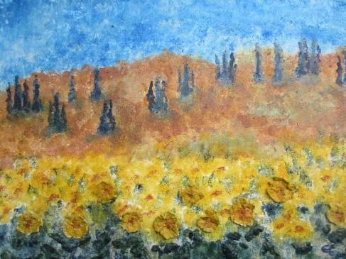 Sonnenblumenfeld im Süden, 2018 Powertex und Stoneart mit Farbpigmenten auf Leinwand 60 x 80 cm