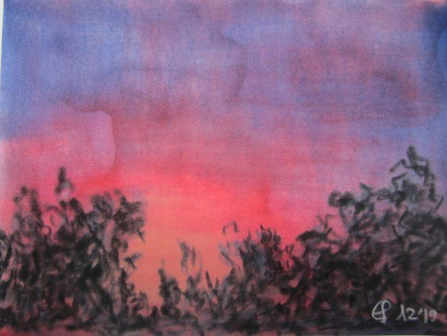 Roter Abendhommel. 12.2019 Weichpastellkreide , mit Passepartout und Rahmen 40 x 50 cm