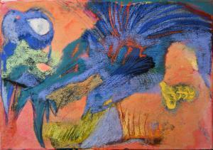 hibou lunaire 30x42 pastel sur toile  2020