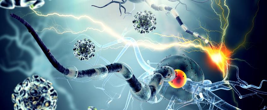 Illusrtation of neurons firing against blue background