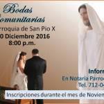 "Magnífica noticia: ""Bodas comunitarias"" parroquia San Pío X."