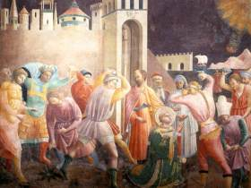 """""""Stoning of St. Stephen"""" by Paolo Uccello"""