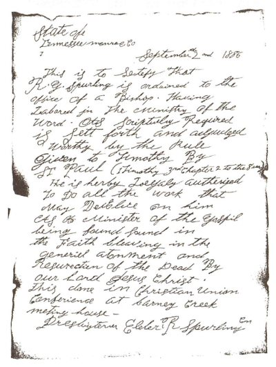 R.G. Spurling's ordination letter