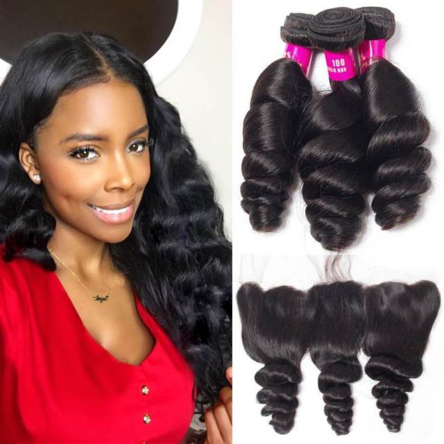 malaysian loose wave 3 bundles with frontal evan hair 10a 100% virgin human hair loose weave bundles frontal sale