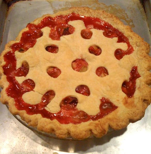 strawberry rhubarb pie, pie, pie-a-day, kcrw