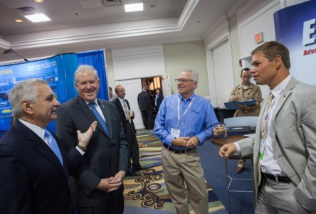 United States Senator, Jack Reed and Under Secretary of Defense, Frank Kendall visit the Evans Capacitor Company booth during SENEDIA, Defense Innovation days
