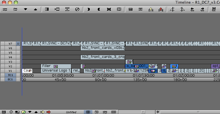 A sample timeline after using the Subdivide effect on the top-most video layer
