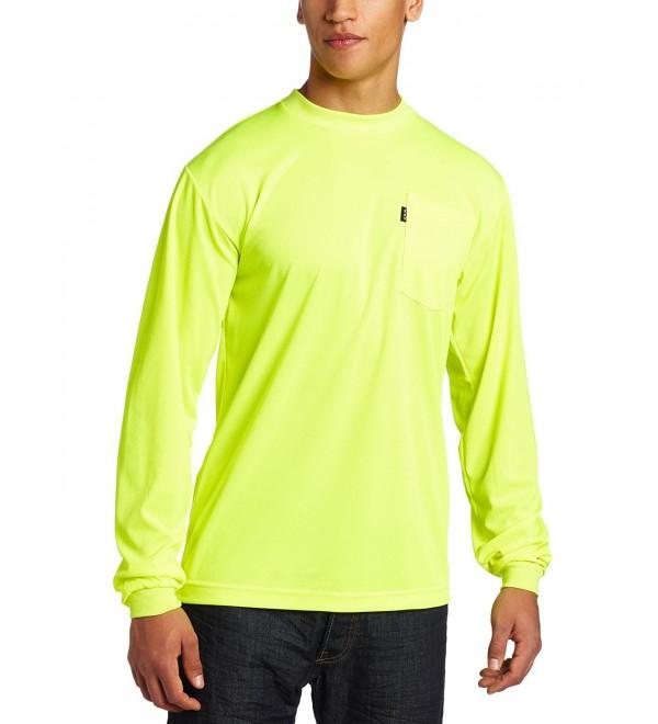 Men's Enhanced Visibility Long Sleeve Waffle Knit Pocket T-Shirt - Hi-Vis - CF1168YD7PJ