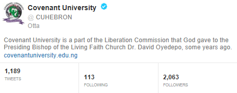 Covenant university twitter handle verified