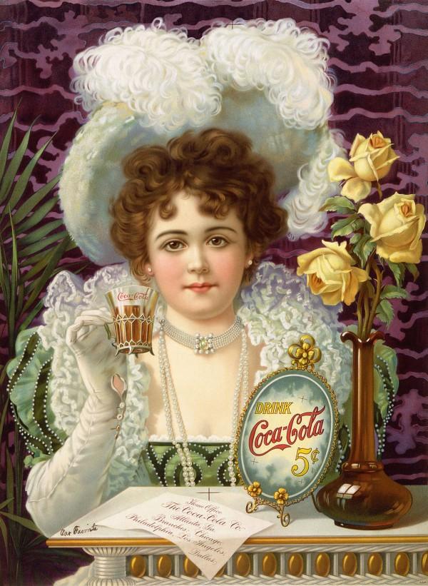 Publicité pour le Coca-Cola dans les années 1890.