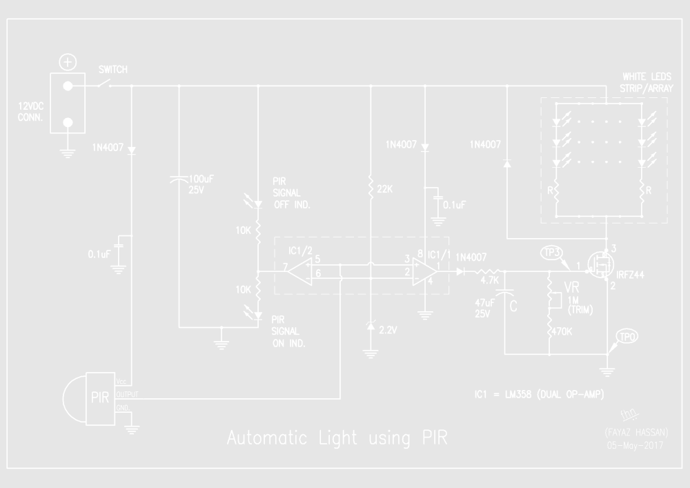 medium resolution of automatic light using pir evelta electronics vr light switch wiring